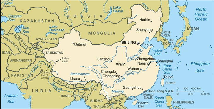 CIA map of China (showing key Chinese cities and neighboring countries)