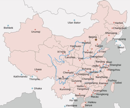 Basic blank map of major Chinese cities 2010-2011