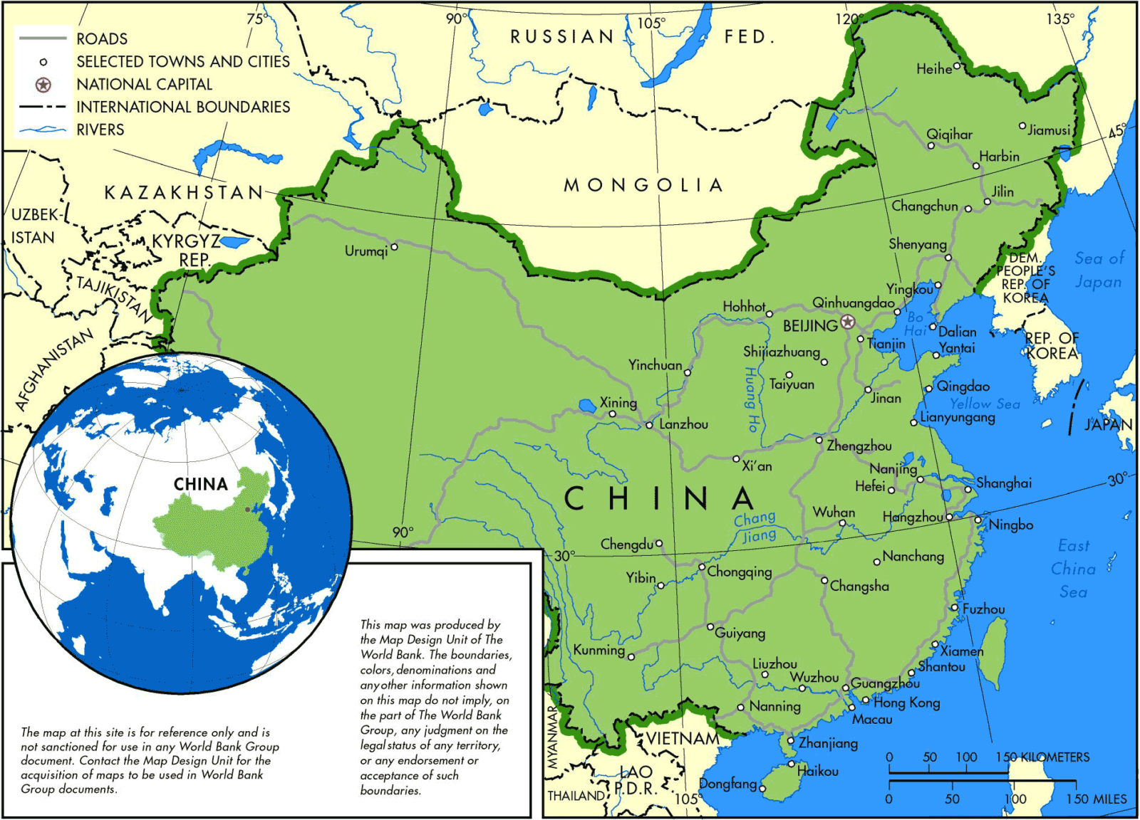 Map of china major chinese cities
