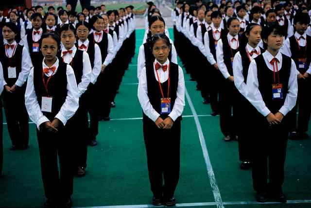 Students in China standing in perfect formation