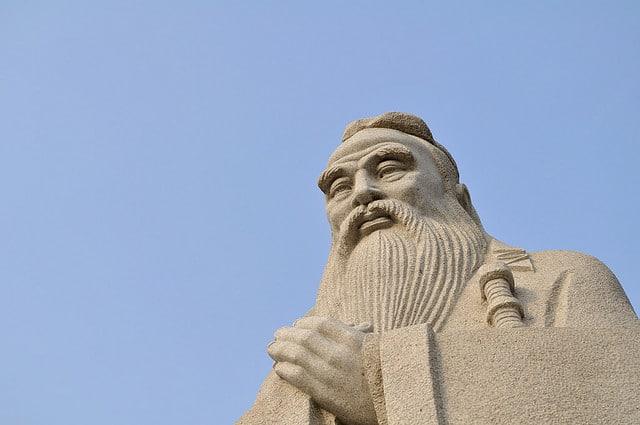 A stone statue of Confucius