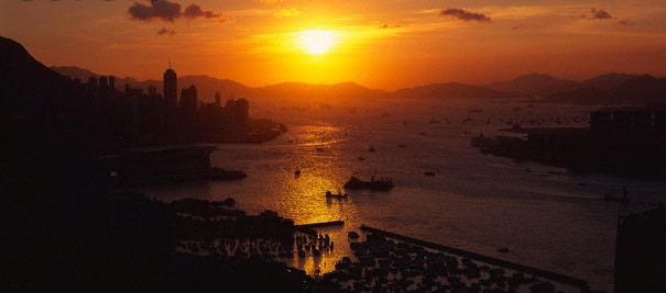 Picture of Hong Kong during a sunset