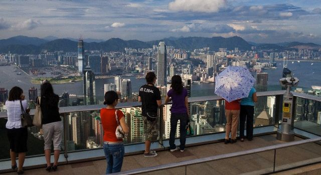 A view of the Hong Kong skyline