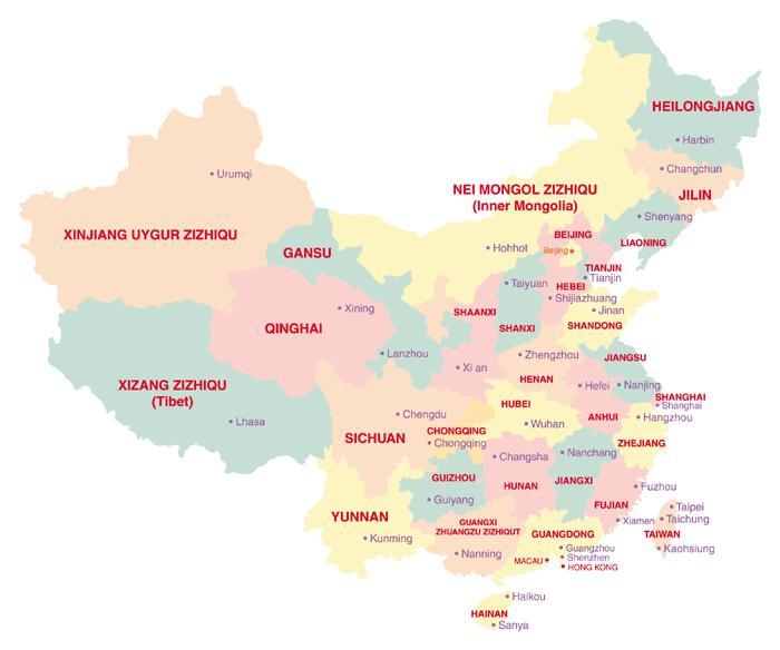 China Map: Provinces and capital cities 2010-2011