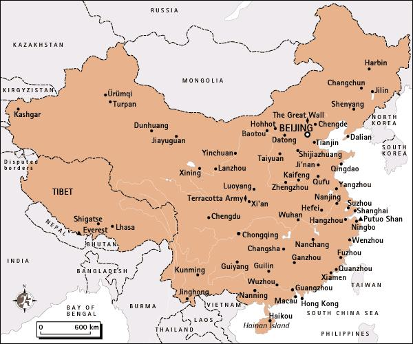 Map of largest Chinese cities