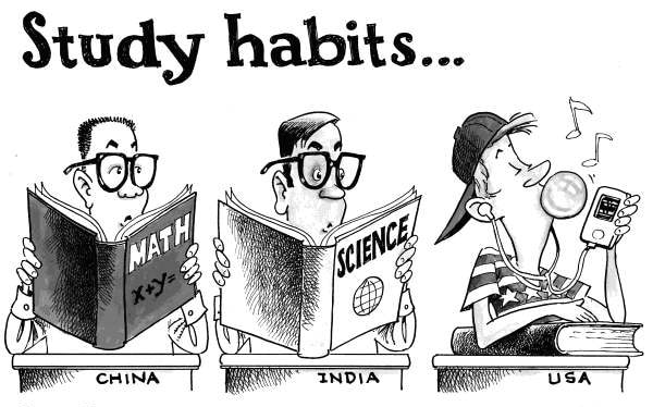 Satirical comic about the study habits of Chinese, Indian and American students