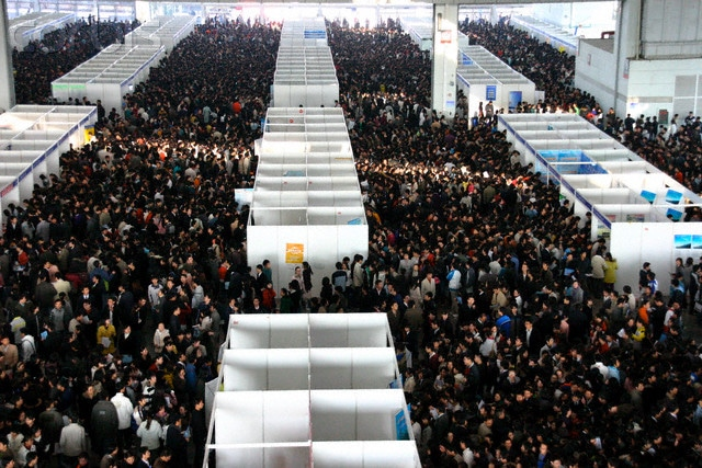 Chinese college students at a job fair in Nanjing