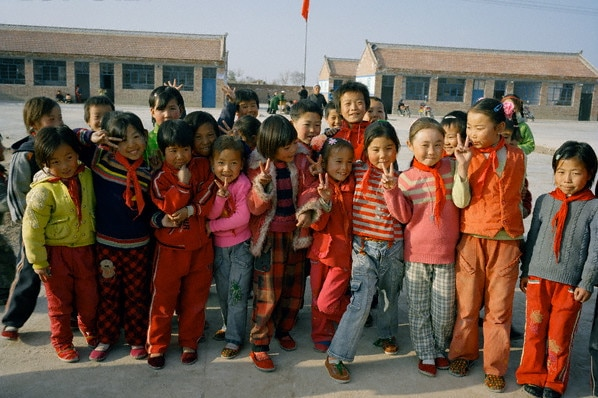 Chinese kids at school looking happy