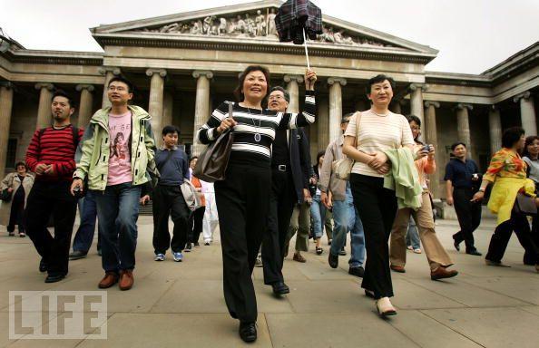 Chinese tourists walking