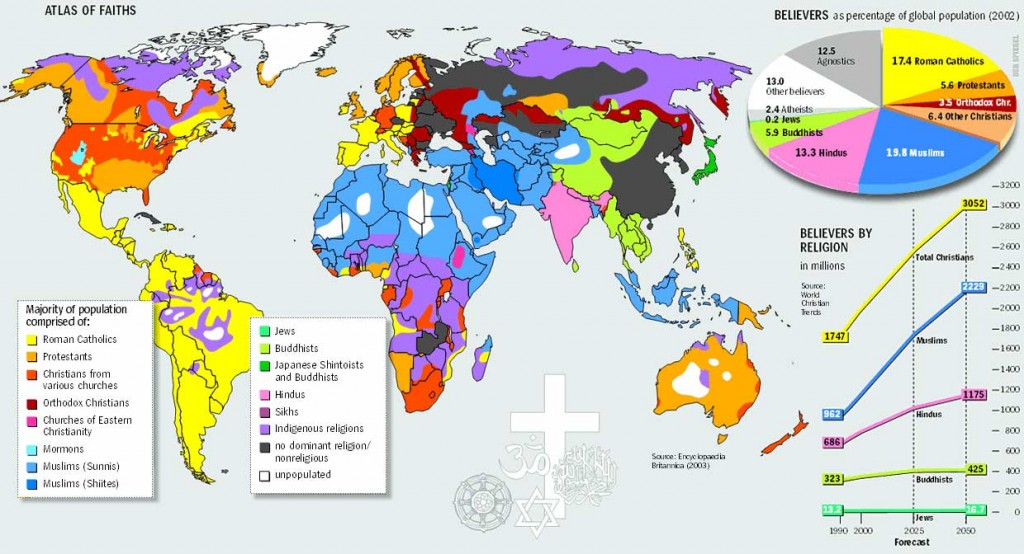 """Map showing the percentage of """"believers"""" from a global perspective"""