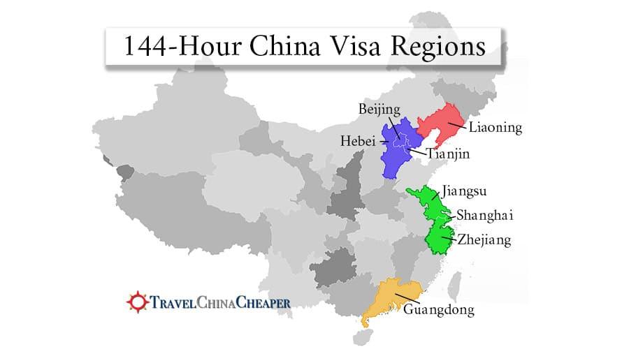 China transit visa map