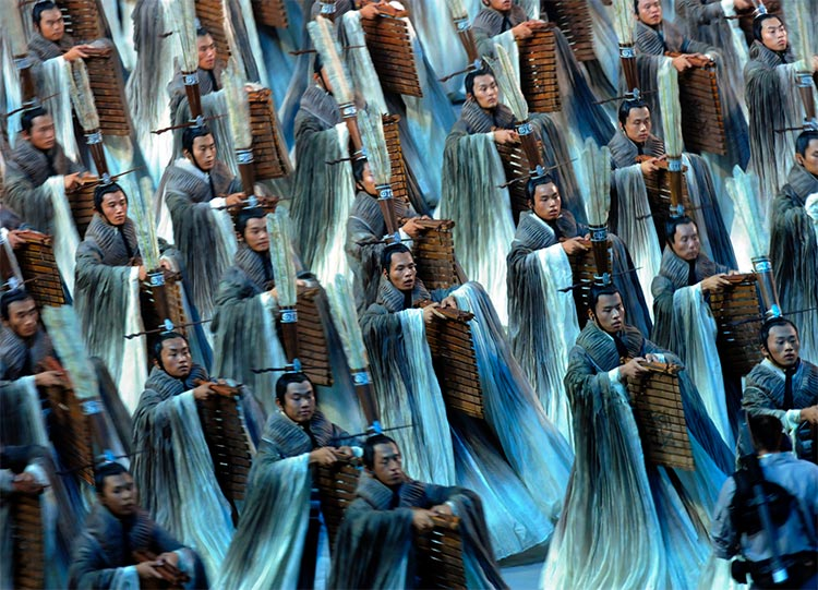 Men dressed as Confucius during the 2008 Beijing Olympics opening ceremony.