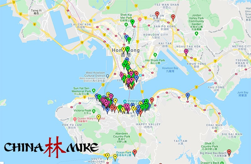 Google map view of Hong Kong with top attractions pinned