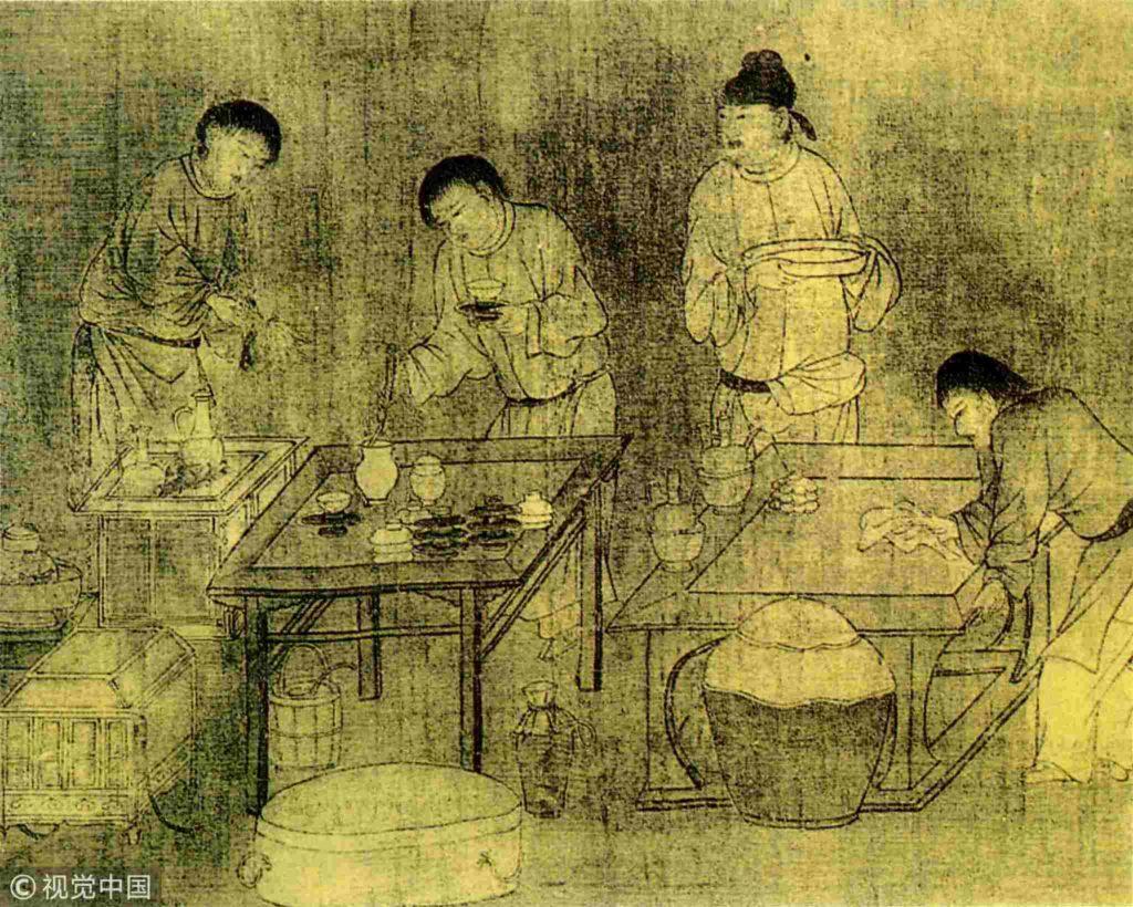 Ancient China fresco depicting a dessert food