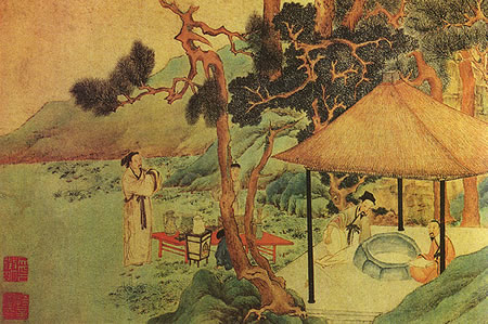 Ancient Chinese tea mural