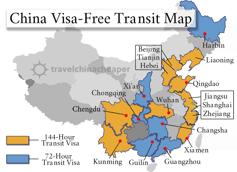 Visa-free transit map for 144-hour and 72-hour policies