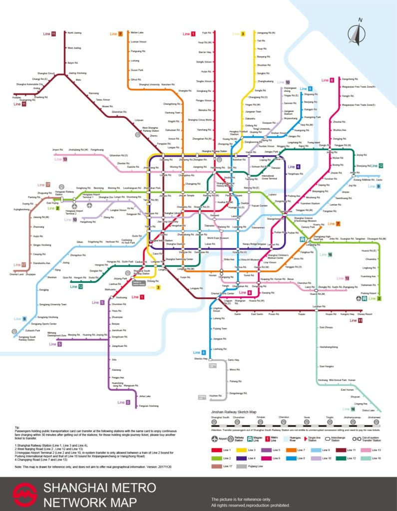 Shanghai Metro Map 2020 for the subway