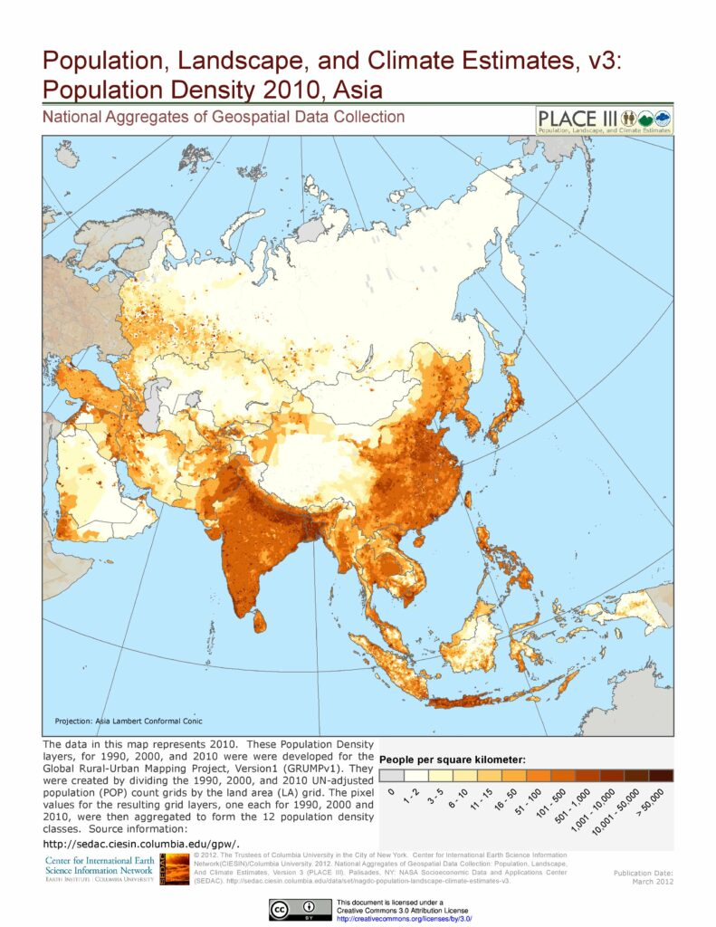 Population density Asia map