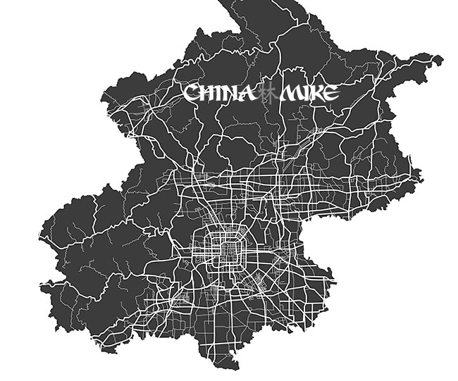 Beijing map showing the feng shui grid system