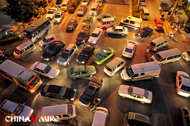 Car traffic jam in China