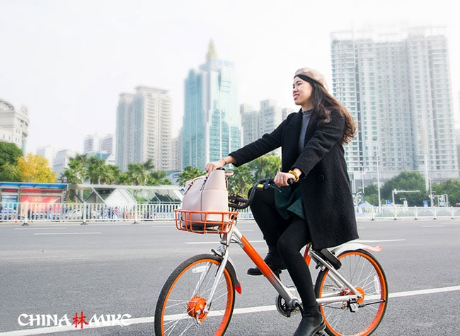 A bicycle rider in China
