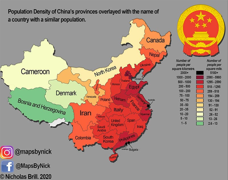 Population Density of China compared to other country populations