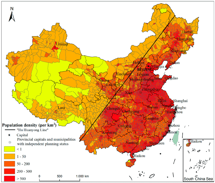 Population distribution pattern of China in 2015
